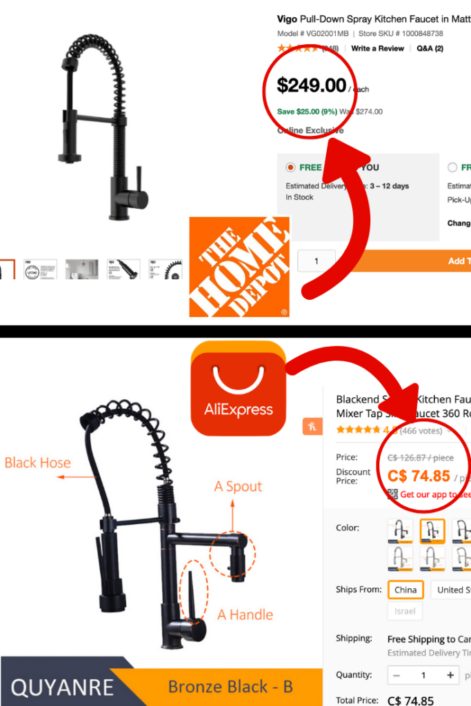 home depot vs AliExpress